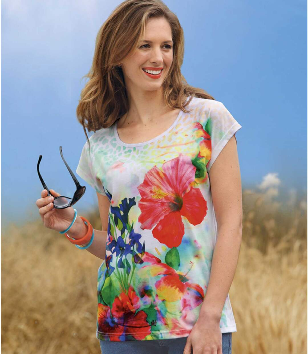 Women's White Floral Print T-Shirt