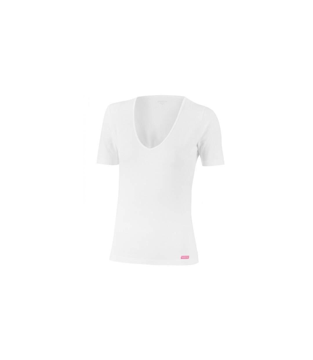 IMPETUS T-shirt Col V Femme Microfibre THERMO Blanc