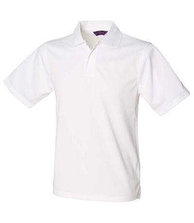 Henbury Mens Coolplus® Pique Polo Shirt (White) - UTRW635