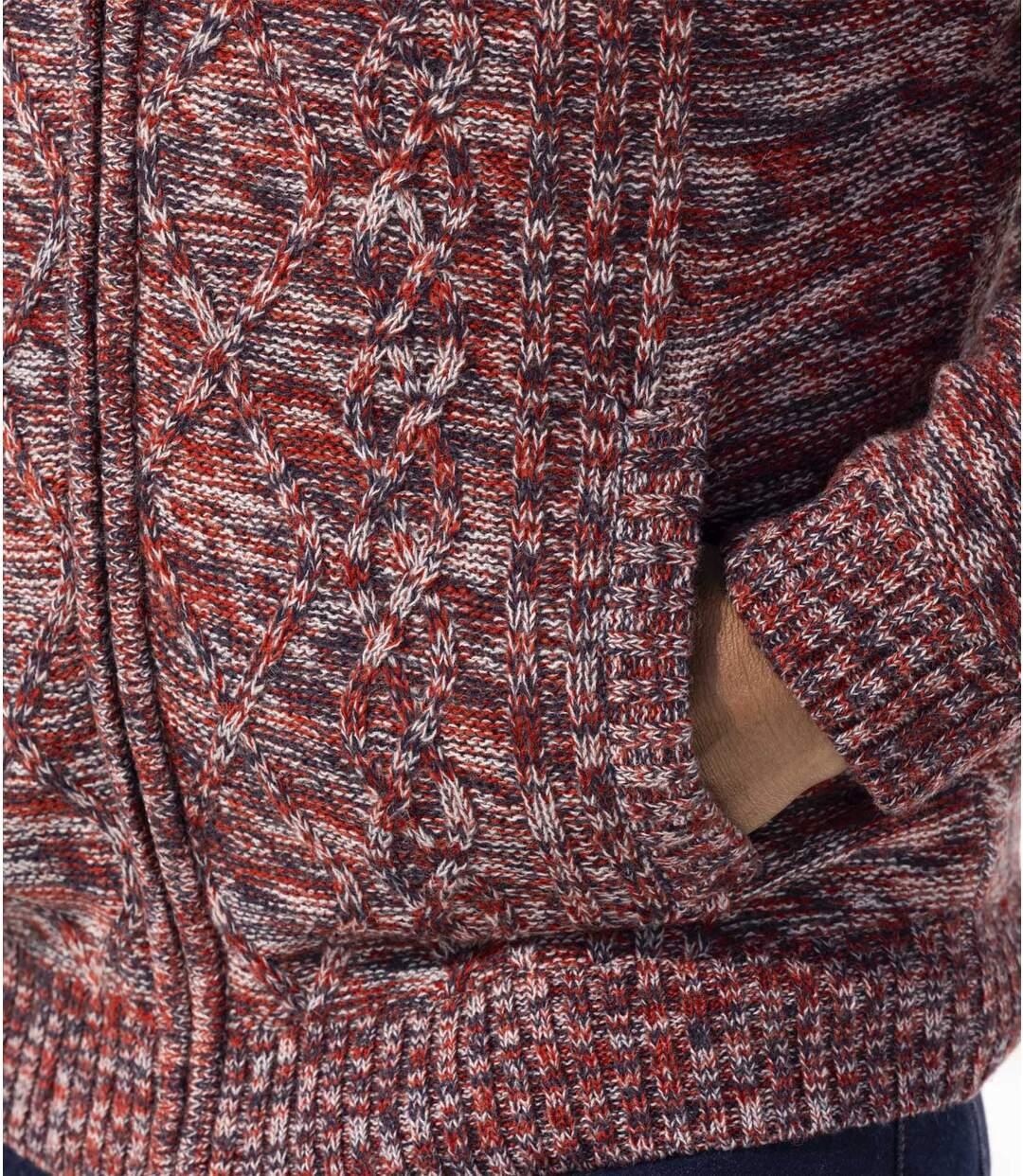 Pletená bunda scopánkovým vzorováním zateplená umělým beránkem Atlas For Men