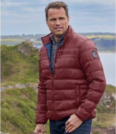 Men's Easy-Wear Burgundy Puffer Jacket - Full Zip - Water-Repellent
