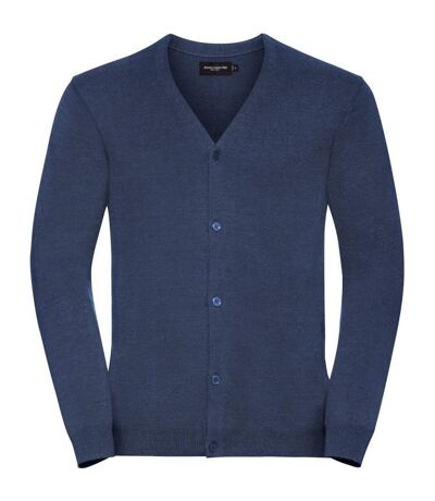 Russell Collection Mens V-Neck Knitted Cardigan (Denim Marl) - UTBC4105