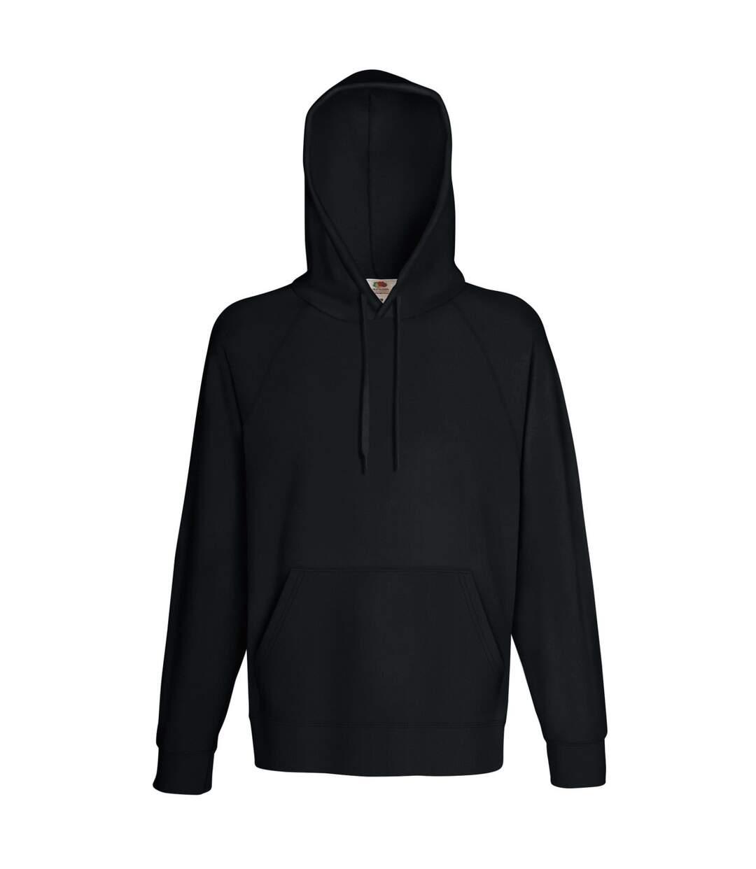 Fruit Of The Loom Mens Lightweight Hooded Sweatshirt / Hoodie (240 GSM) (Black) - UTBC2654