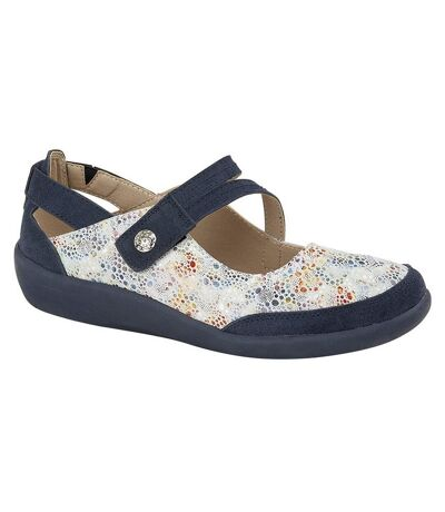 Boulevard Womens/Ladies E Fit Leather/Suede Shoes (Blue) - UTDF1567
