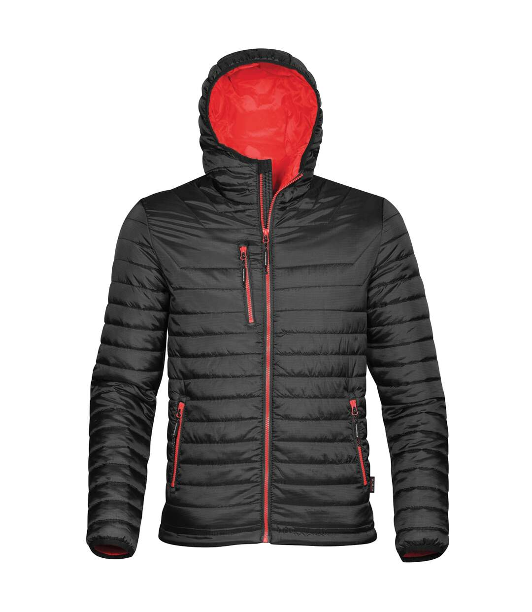 Stormtech Mens Gravity Hooded Thermal Winter Jacket (Durable Water Resistant) (Black/True Red) - UTBC3064