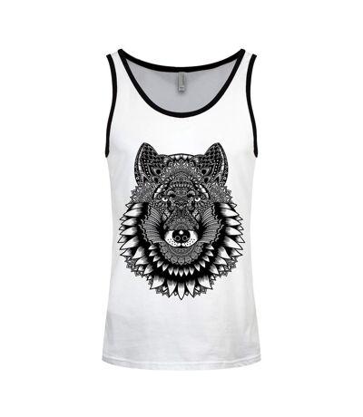 Unorthodox Collective Mens Wolf Mandala Vest Top (White/Black) - UTGR2999
