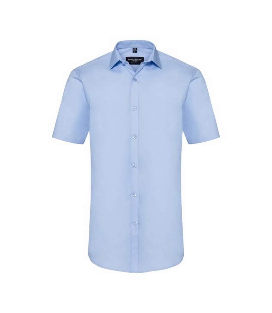 Russell Mens Short Sleeve Stretch Moisture Management Work Shirt (Bright Sky) - UTBC2739