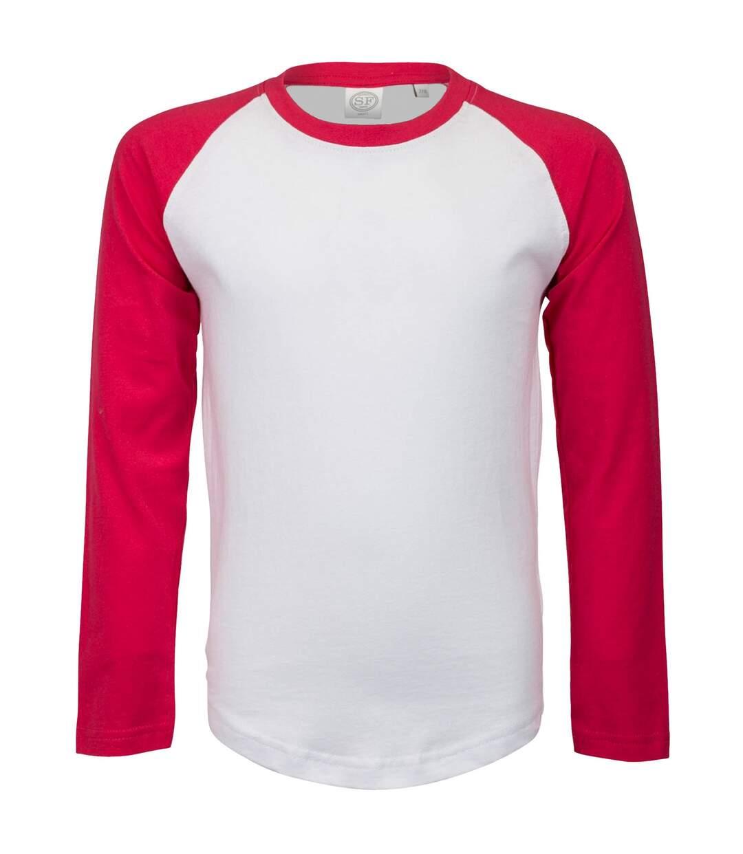 Skinni Fit - T-Shirt À Manches Longues - Femme (Blanc/Rose) - UTRW4731