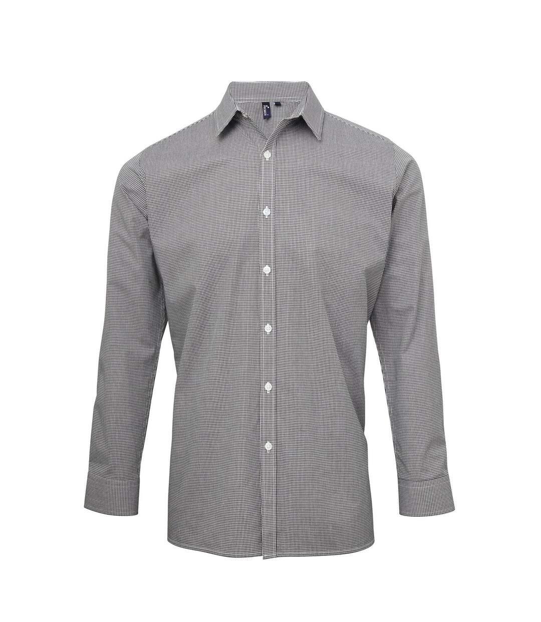 Chemise à carreaux manches longues - Homme - PR220 - noir