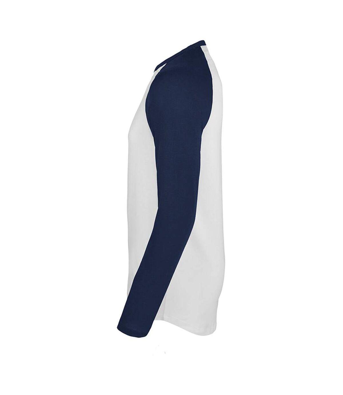 SOLS - T-shirt manches longues FUNKY - Homme (Blanc/bleu marine) - UTPC3513