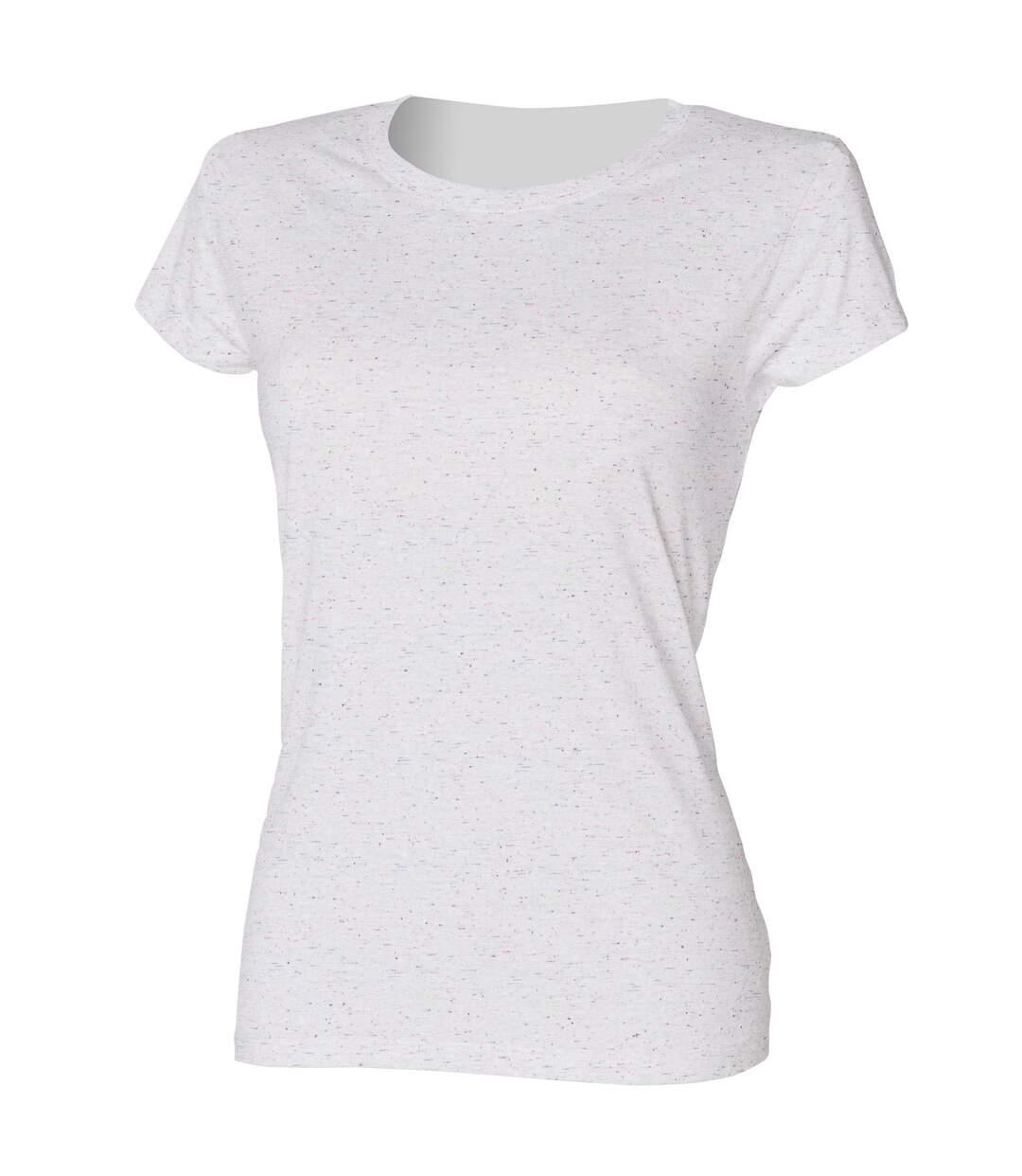 Skinni Fit - T-Shirt Moucheté - Femme (Blanc) - UTRW1379
