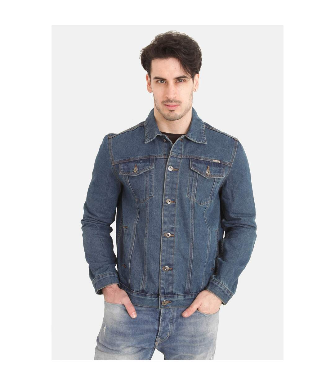 Duke Mens Kingsize Western Trucker Style Denim Jacket (Stonewash) - UTDC127