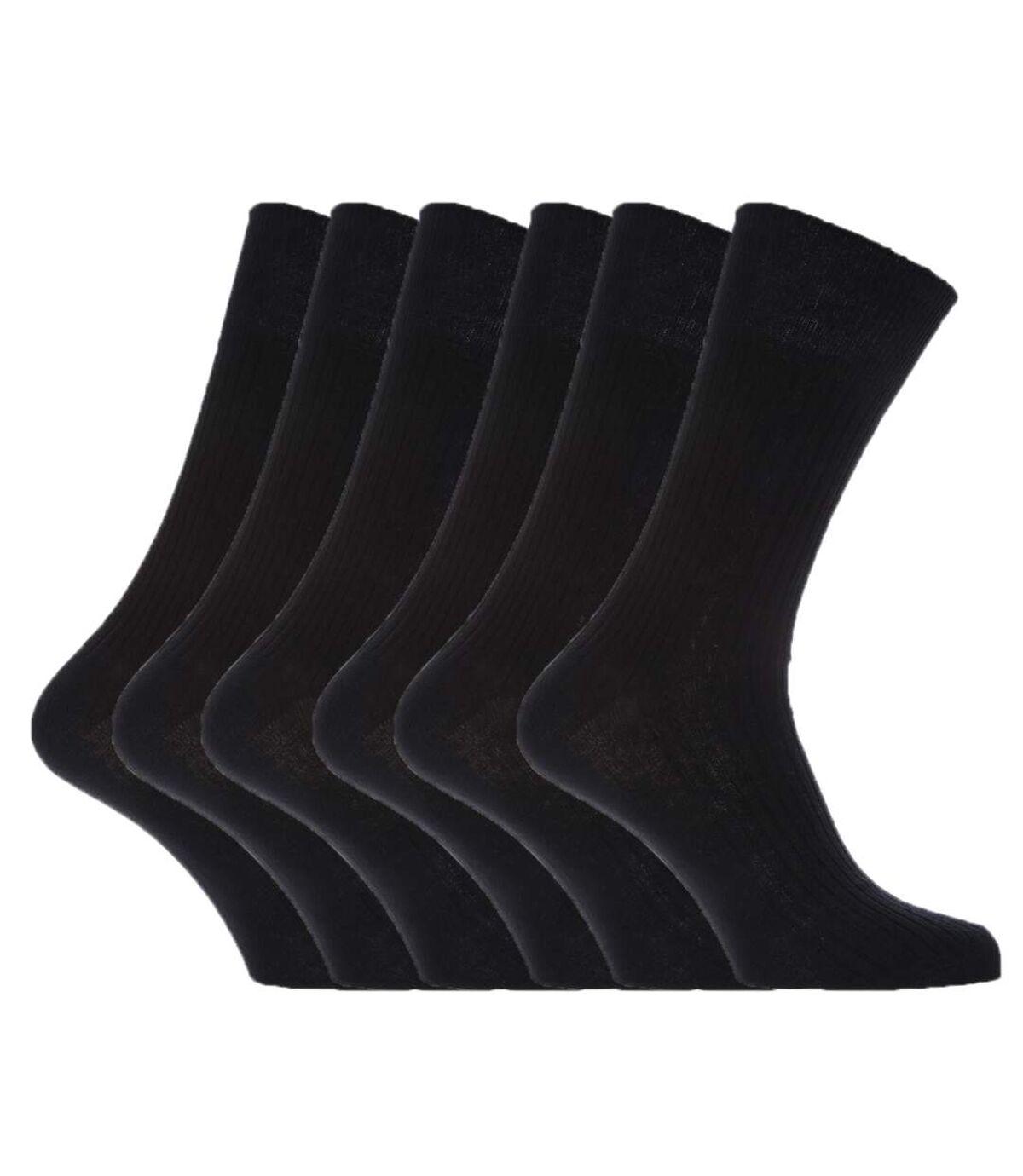 Mens 100% Cotton Non Elastic Top Gentle Grip Socks (Pack Of 6) (Black) - UTMB198