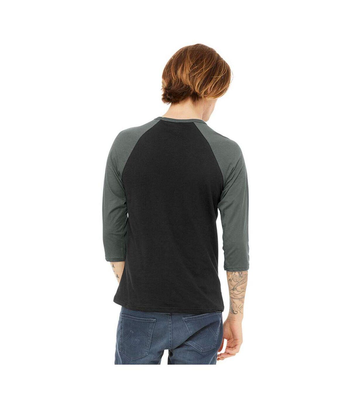 Canvas Mens 3/4 Sleeve Baseball T-Shirt (Black/ Deep Heather Grey) - UTBC1332