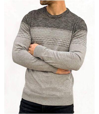 Pull homme fine maille gris dégradé tricoté à motifs tendance pour homme