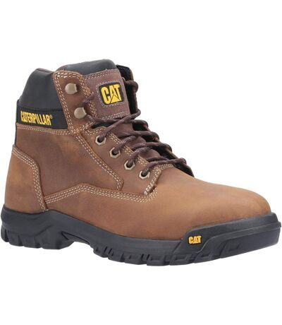 Caterpillar Mens Median S3 Lace Up Leather Safety Boot (Brown) - UTFS6988