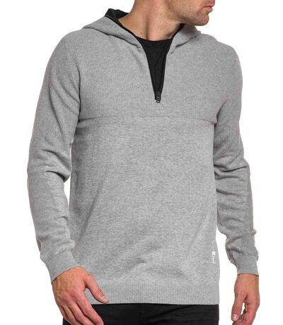 Pull homme gris col zippé et capuche stylé