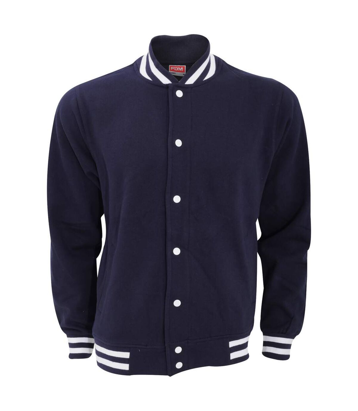 FDM Unisex Campus Varsity Jacket (Navy/White) - UTBC3182