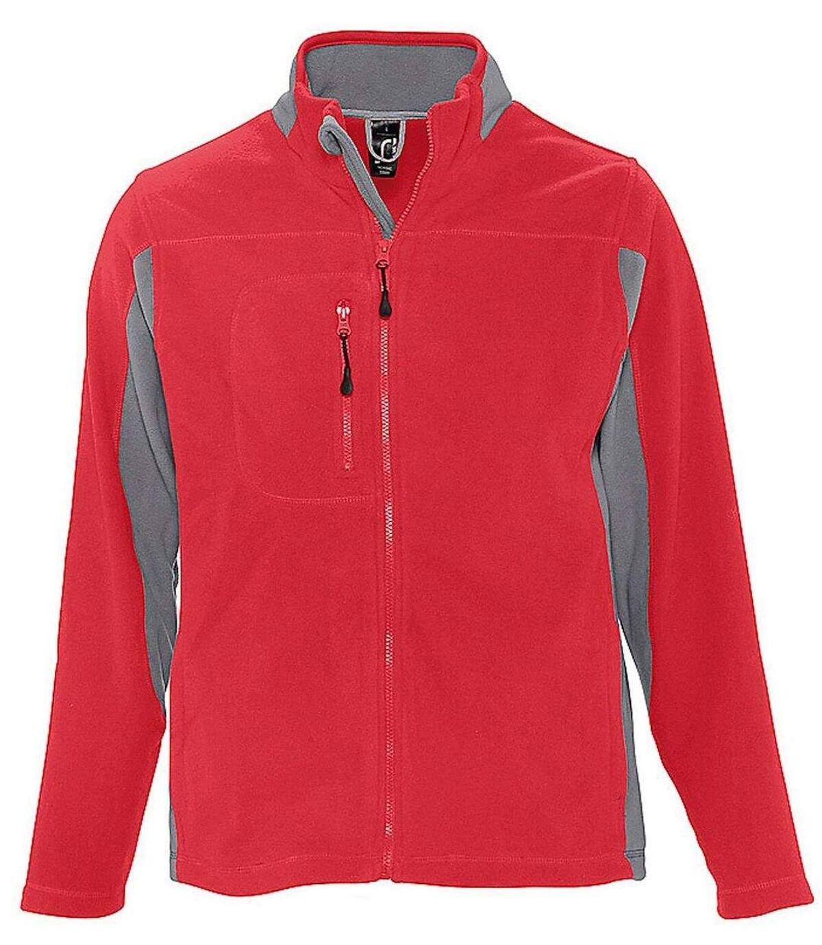 Veste polaire bicolore homme - 55500 - rouge