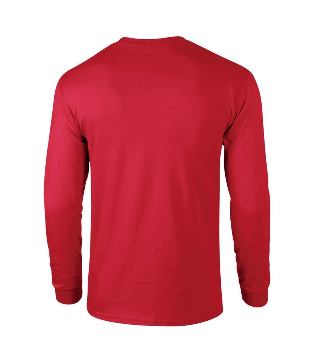 Gildan Mens Plain Crew Neck Ultra Cotton Long Sleeve T-Shirt (Red) - UTBC477