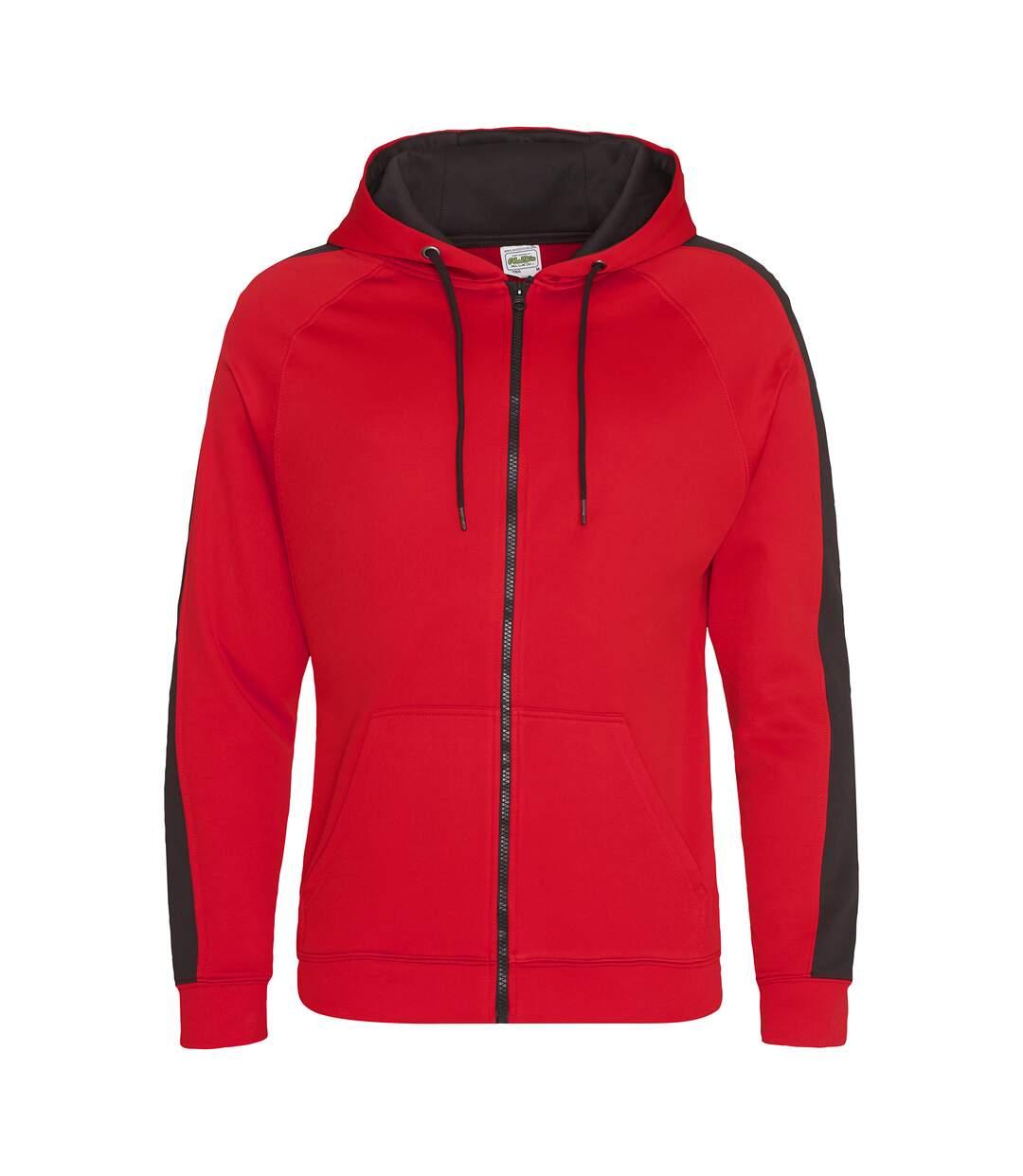 AWDis Just Hoods Mens Contrast Sports Polyester Full Zip Hoodie (Fire Red/Jet Black) - UTPC2967