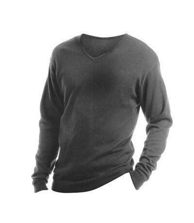 Kustom Kit Mens Arundel Long Sleeve V-Neck Sweater (Graphite) - UTBC1446