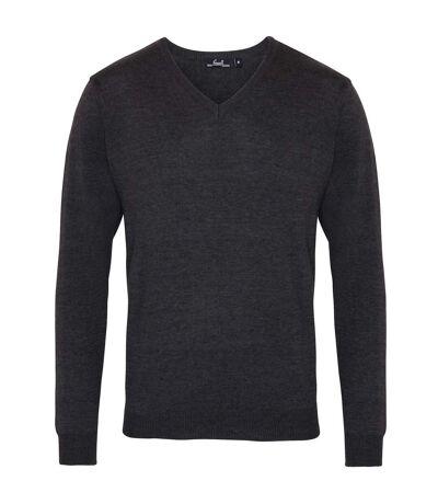 Premier Mens V-Neck Knitted Sweater (Burgundy) - UTRW1131