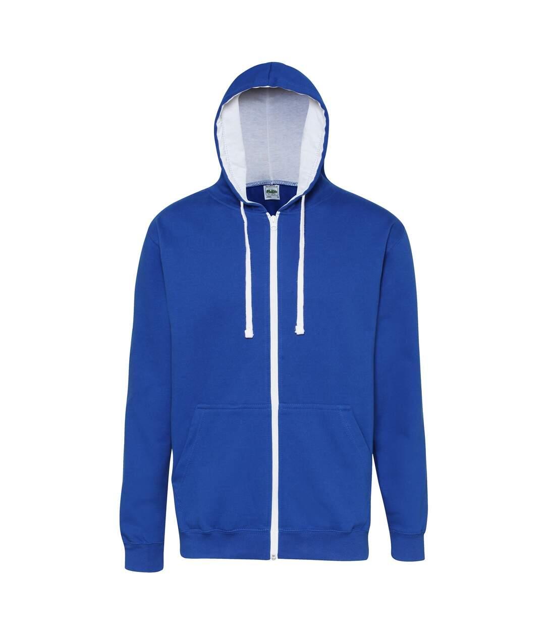 Awdis Mens Varsity Hooded Sweatshirt / Hoodie / Zoodie (Royal Blue/Arctic White) - UTRW182