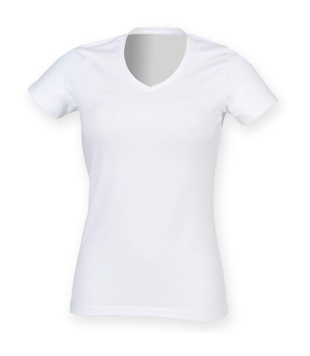 Skinni Fit Feel Good - T-Shirt Étirable À Manches Courtes Et Col En V - Femme (Blanc) - UTRW4423