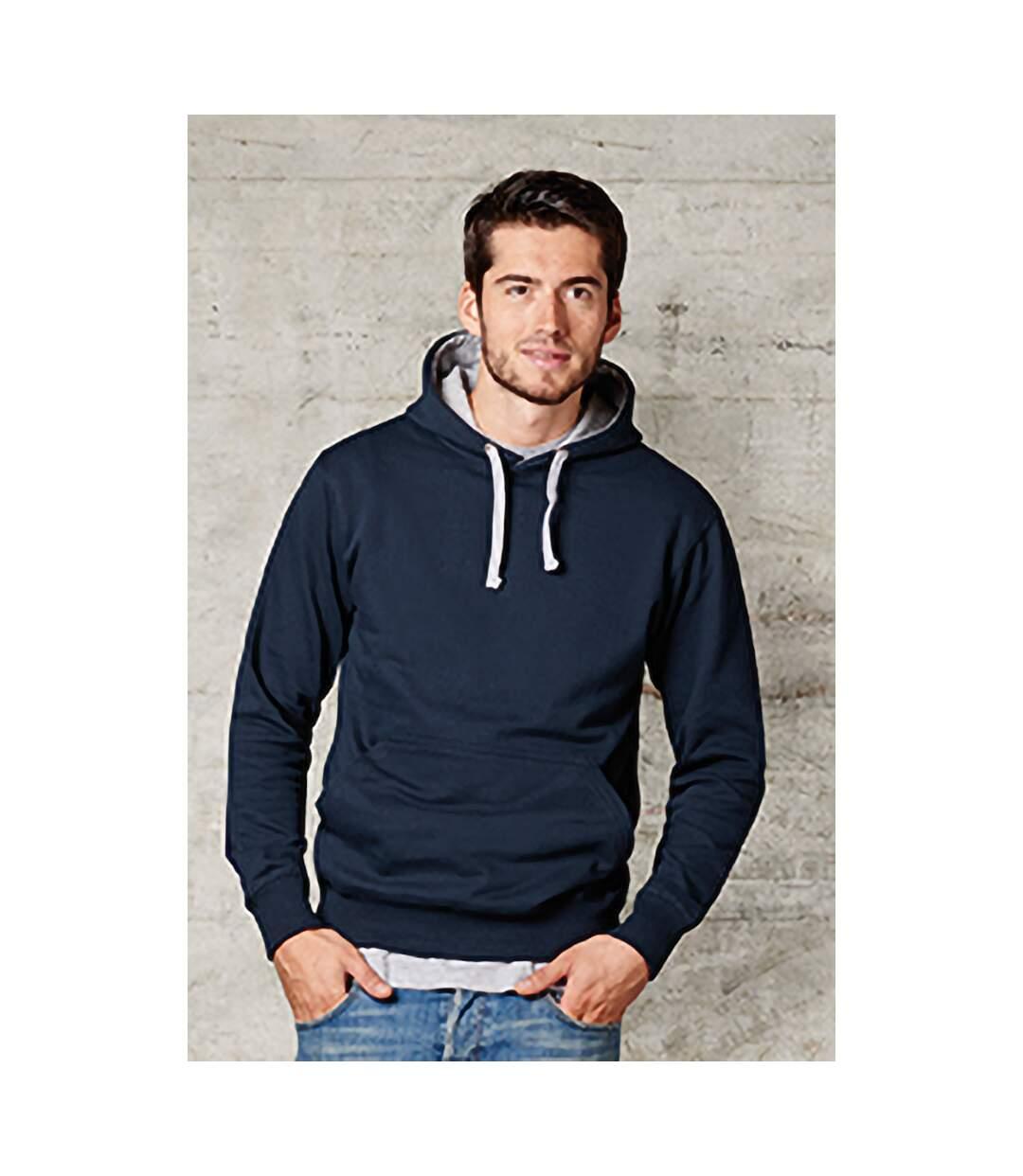 FDM Unisex Contrast Hooded Sweatshirt / Hoodie (300 GSM) (Navy/Heather Grey) - UTBC2025