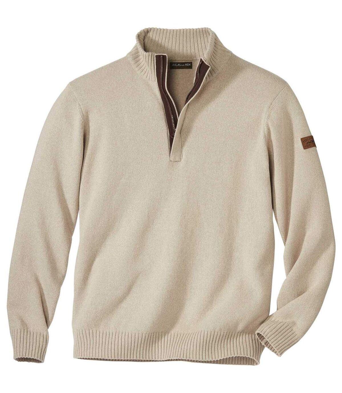 Bavlnený pulóver so stojatým golierom na zips Atlas For Men