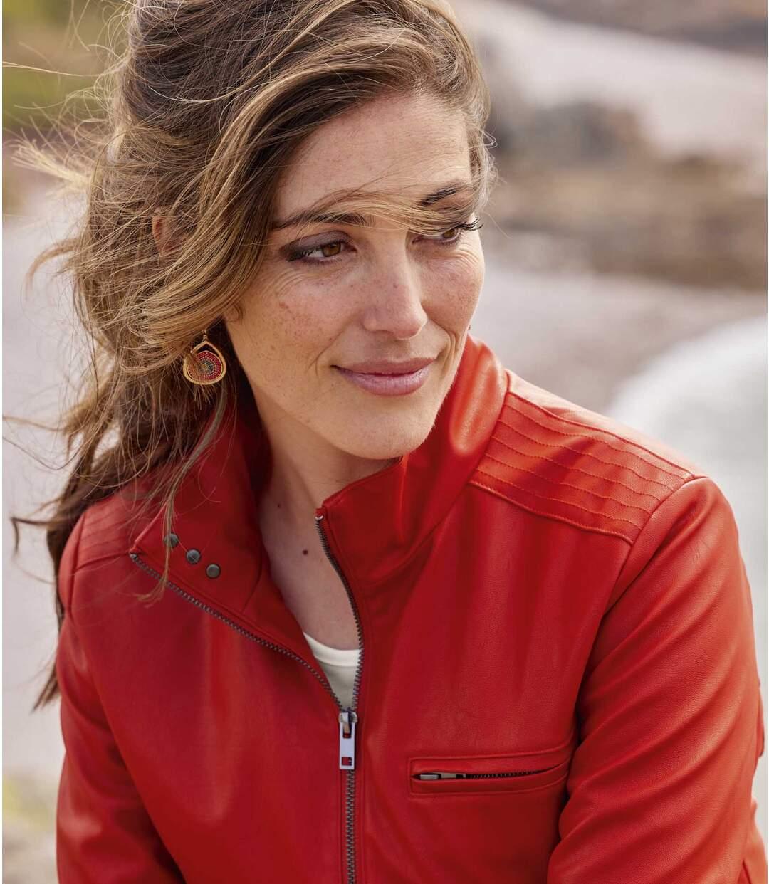 Červená koženková bunda  Atlas For Men