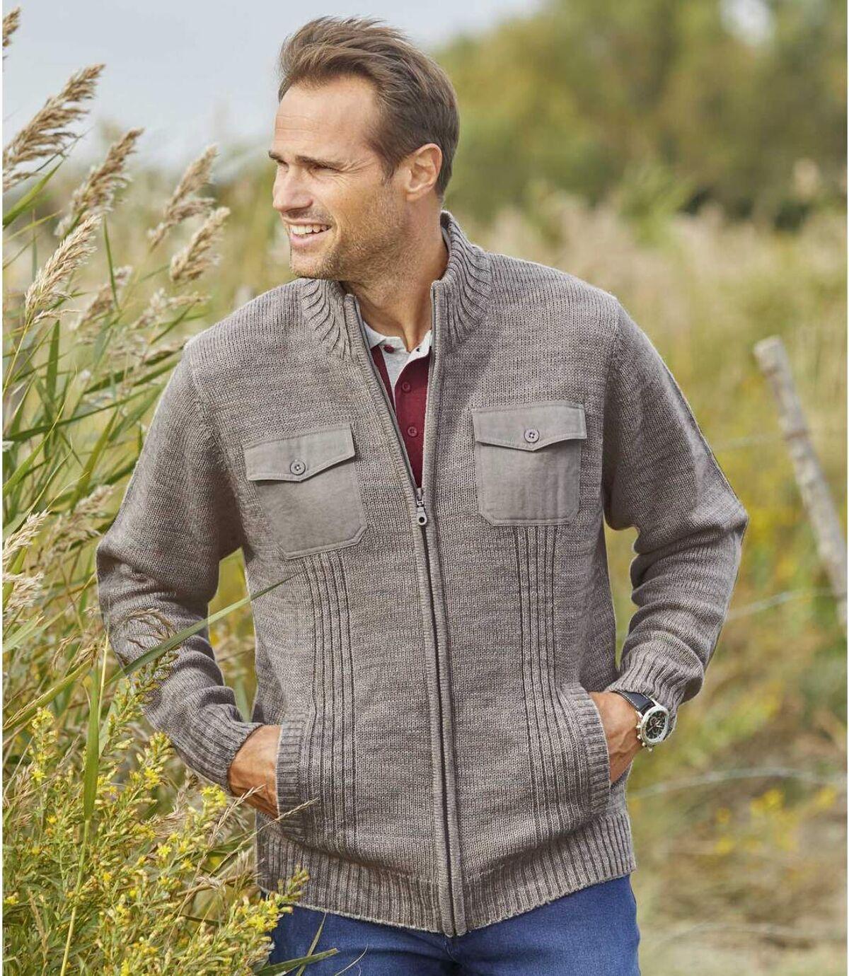 Men's Full Zip Grey Knitted Jacket Atlas For Men