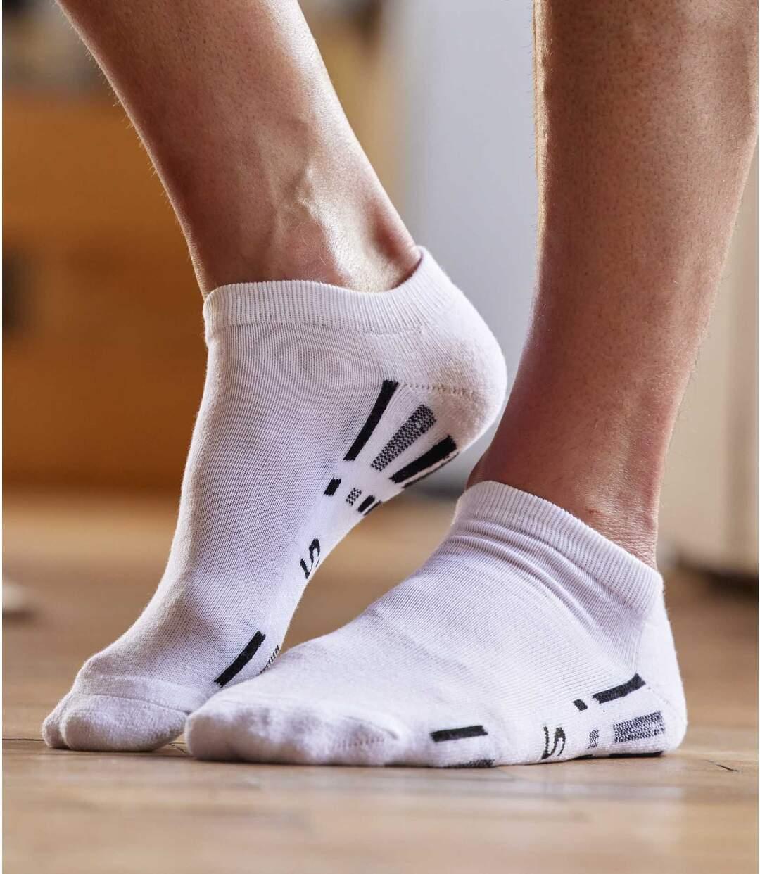 Pack of 4 Pairs of Men's Sneaker Socks - White Black Grey Atlas For Men