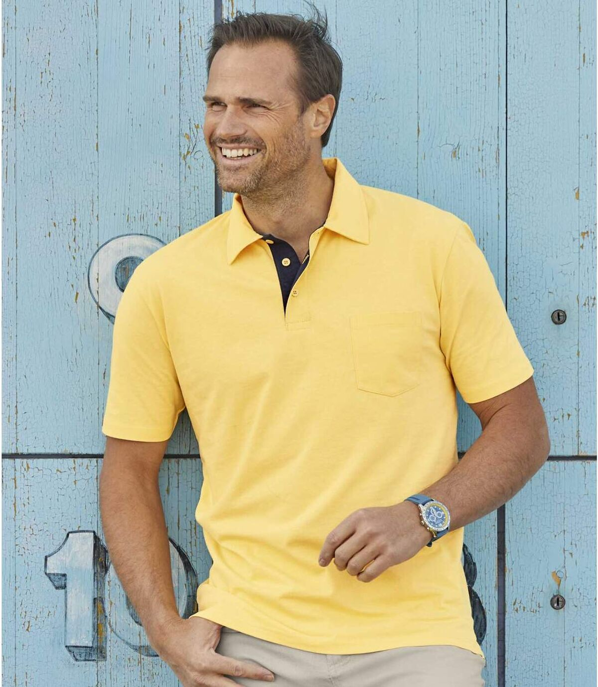 Pack of 3 Men's Classic Polo Shirts - Navy Burgundy Yellow Atlas For Men