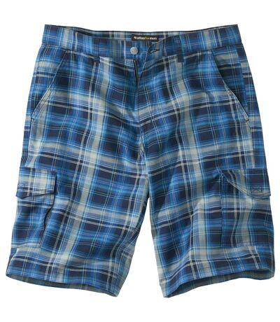 Men's Blue Checked Cargo Shorts