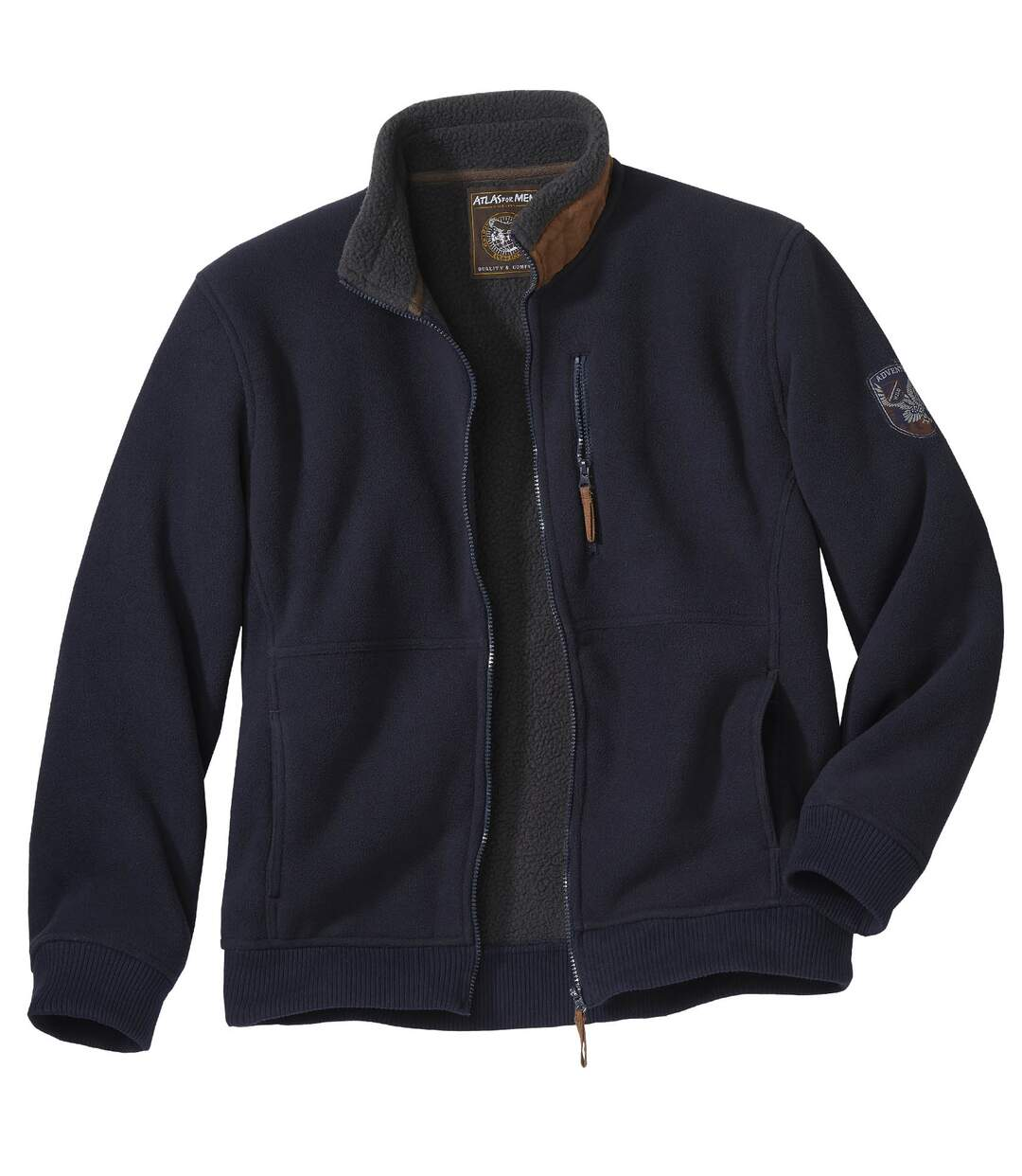 Men's Navy Fleece Jacket with Sherpa Lining - Full Zip