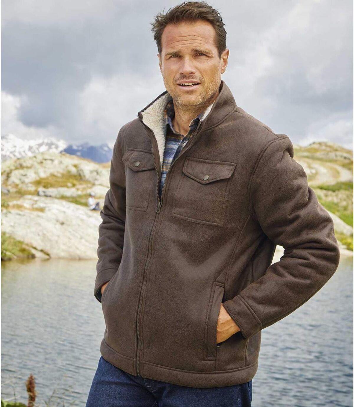 Wygodna kurtka ze sztucznego zamszu podszyta kożuszkiem sherpa Atlas For Men