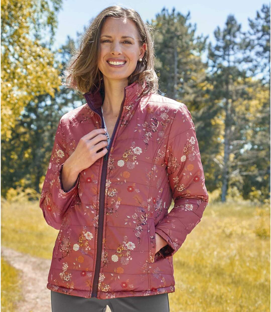 Women's Reversible 2-in-1 Padded Jacket - Burgundy Pink