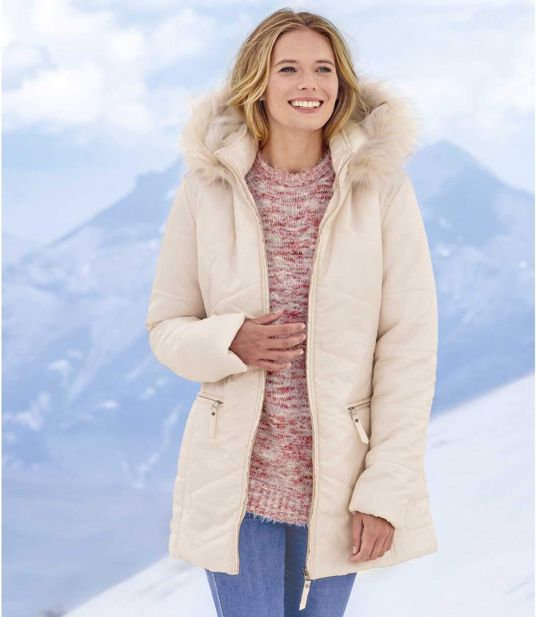 Women's Quilted Parka with Faux-Fur Hood - Water-Repellent - Full Zip