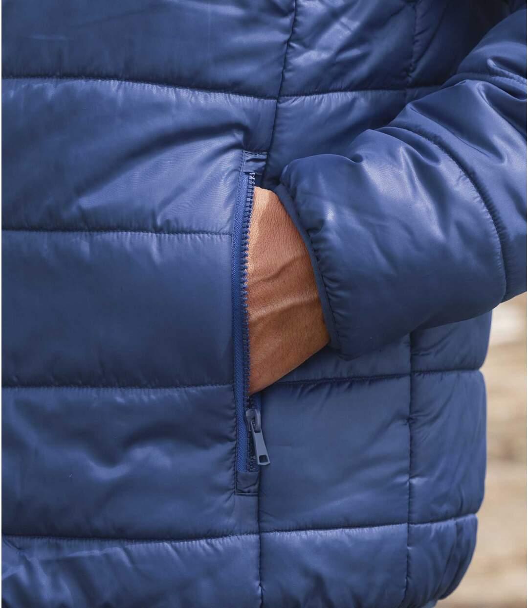 Men's Blue Water-Repellent Puffer Jacket - Foldaway Hood Atlas For Men