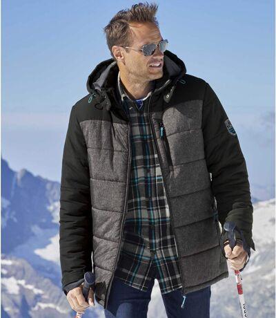 Men's Grey & Black Active-Utility Puffer Jacket with Hood - Water-Repellent - Full Zip