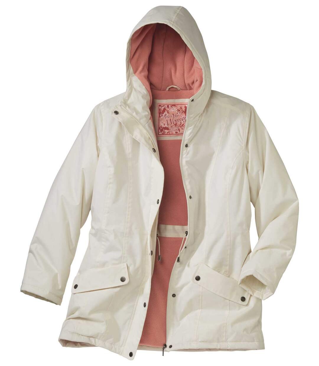 Women's White Winter Parka Coat with Hood