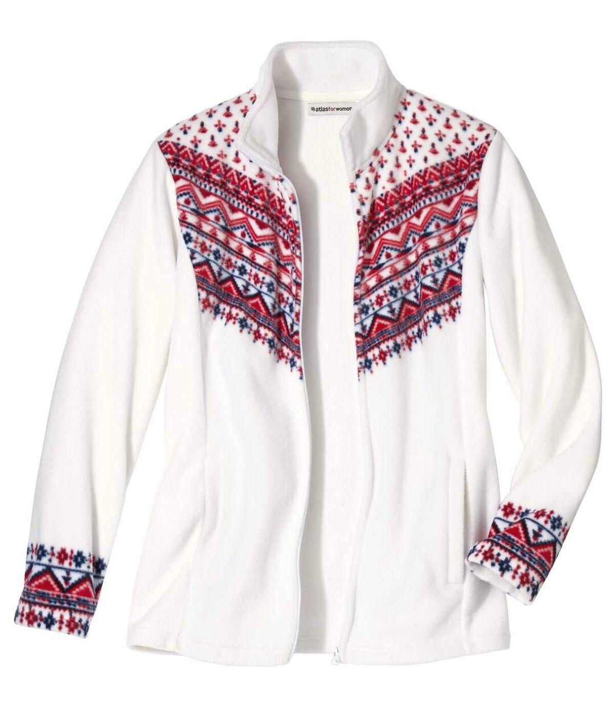 Azték mintás fehér polár kabát Atlas For Men