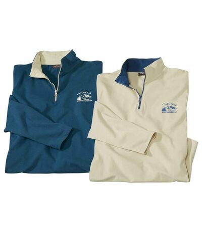Pack of 2 Men's Cotton Half Zip Tops - Blue, Beige