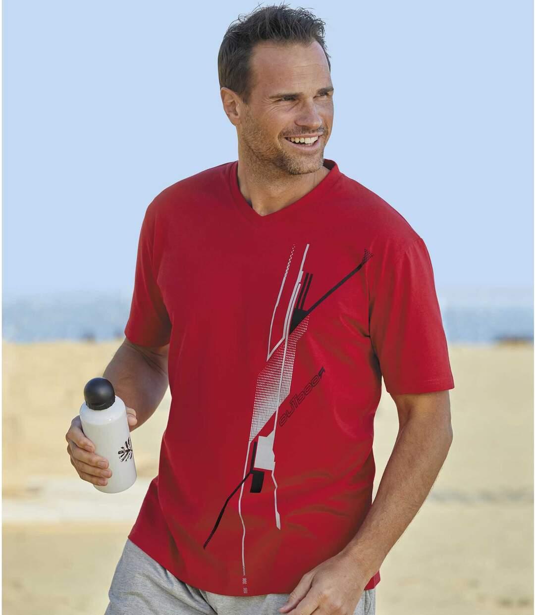 Pack of 6 Men's V-Neck Graphic Print T-Shirts - Red, Blue, White, Black