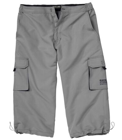 Men's Grey Cropped Cargo Pants