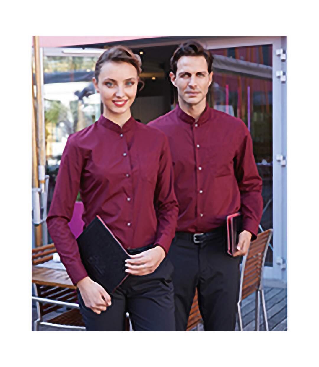 Kariban Mens Long Sleeve Mandarin Collar Shirt (Wine) - UTPC2540