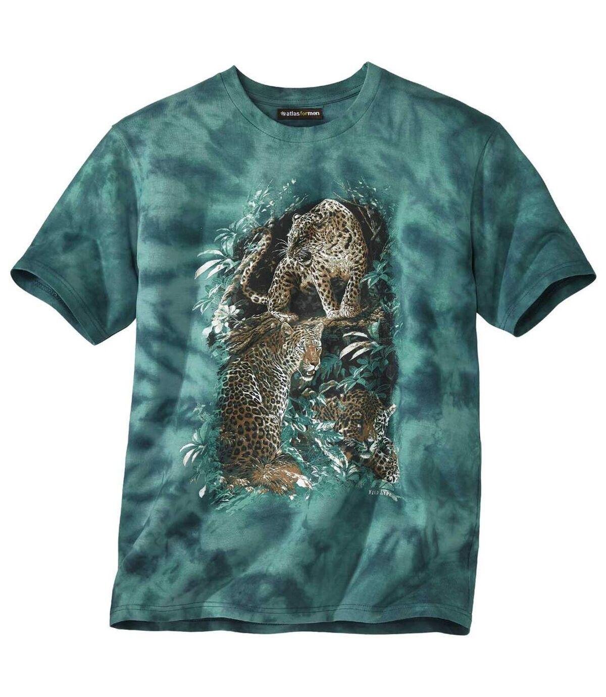 Men's Green Tie-Dye T-Shirt with Panther Print Atlas For Men