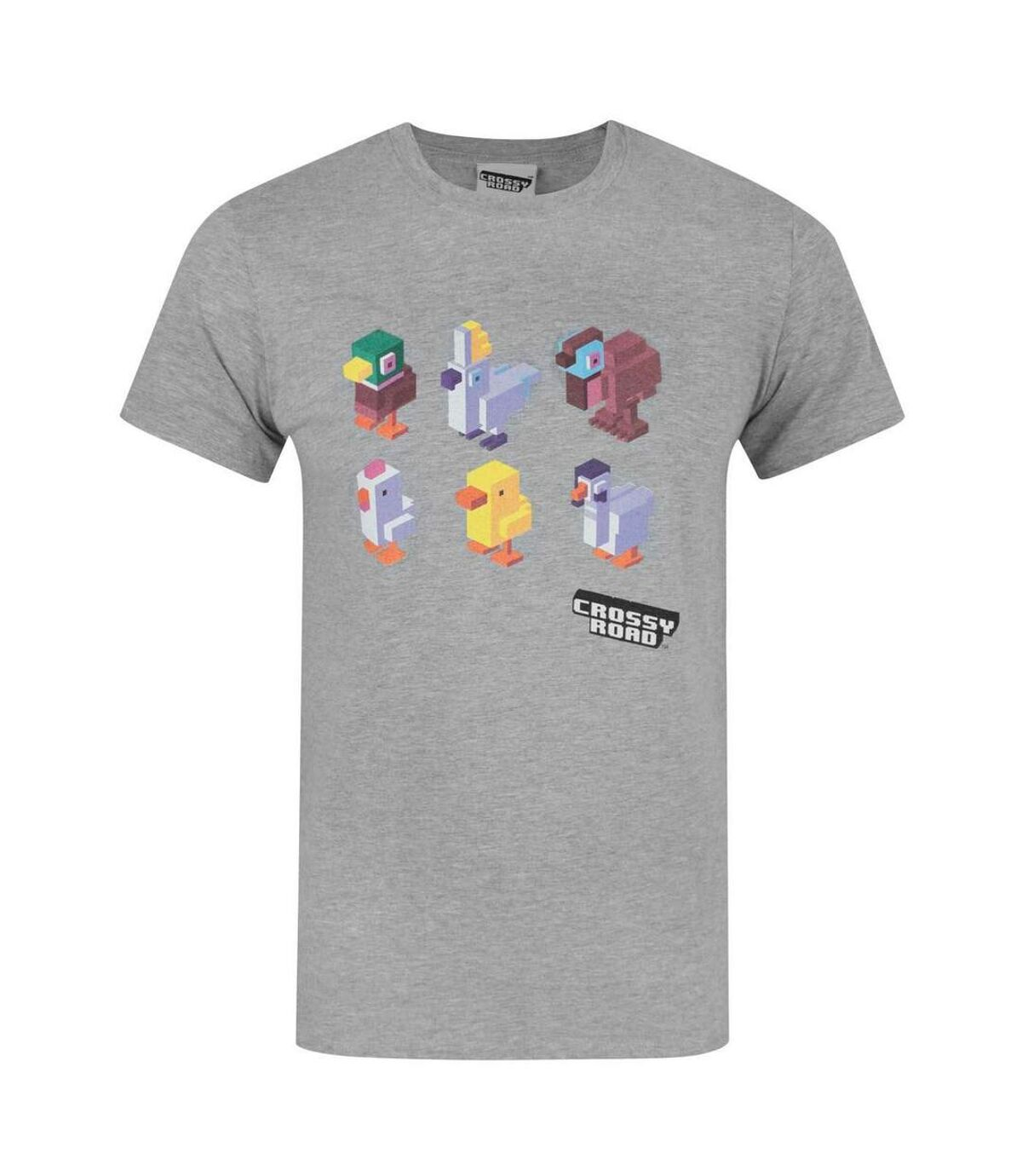 Crossy Road Mens Official Character Design T-Shirt (Light Grey) - UTNS126
